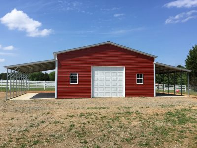 Metal Garage with Lean to's